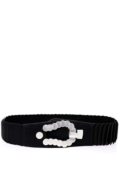 Metal Circles Buckle Ribbed Black Elastic Belt-SinglePrice