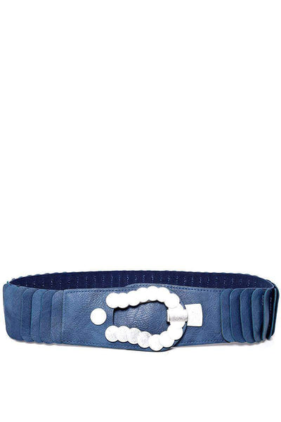 Metal Circles Buckle Ribbed Blue Elastic Belt-SinglePrice