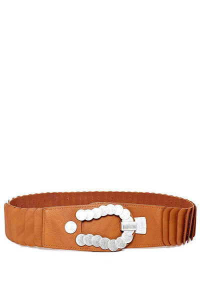 Metal Circles Buckle Ribbed Camel Elastic Belt-SinglePrice