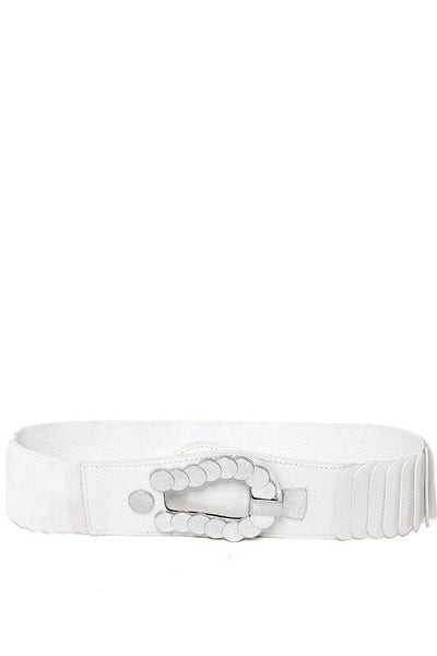 Metal Circles Buckle Ribbed White Elastic Belt-SinglePrice