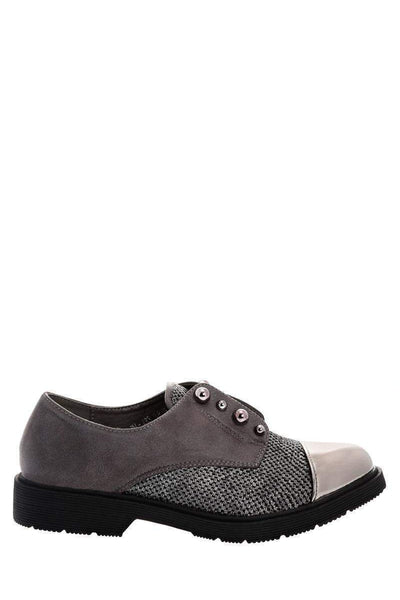 Metal Pearls Grey Loafer Shoes-Single price