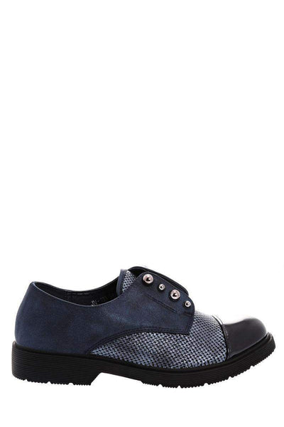 Metal Pearls Navy Loafer Shoes-Single price