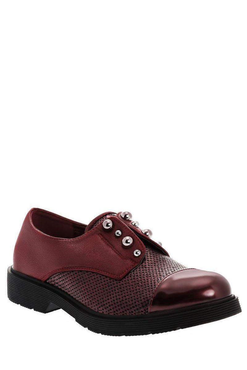 Metal Pearls Wine Loafer Shoes-Single price