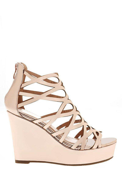Metallic Rose Gold Cage Wedge Sandals-Single price