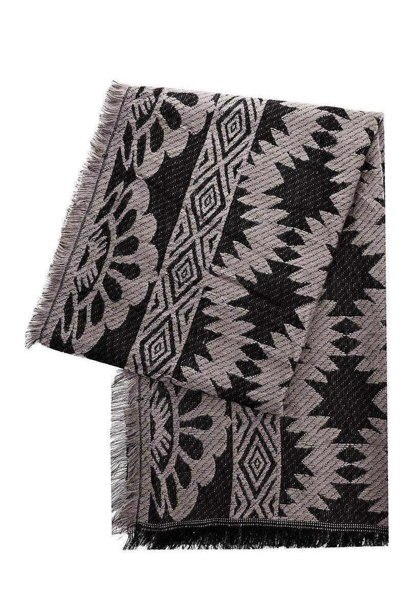 Mixed Floral Pattern Grey Woven Scarf-Single price