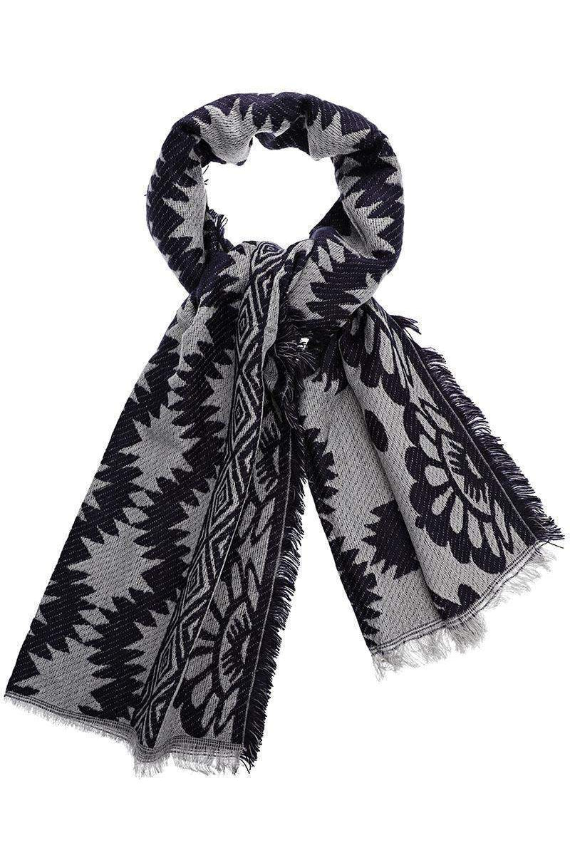 Mixed Floral Pattern Navy Woven Scarf - SinglePrice