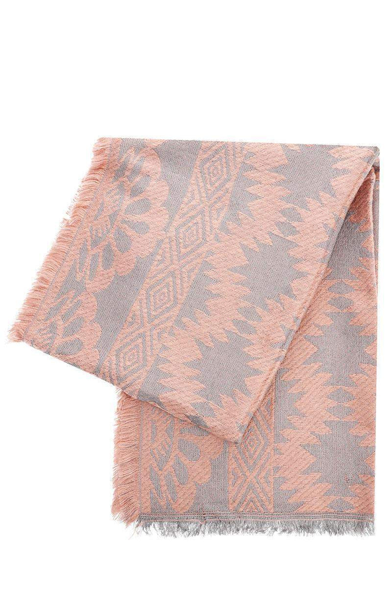 Mixed Floral Pattern Pink Woven Scarf-Single price