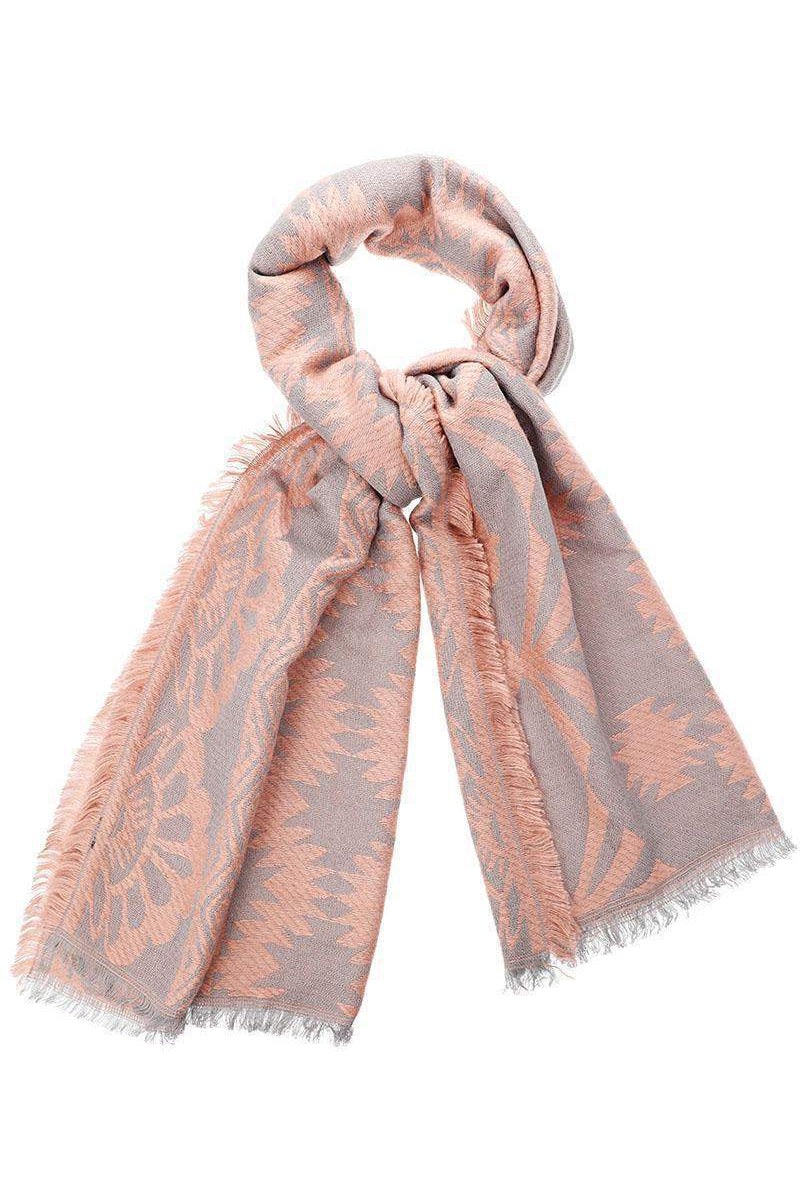 Mixed Floral Pattern Pink Woven Scarf - SinglePrice