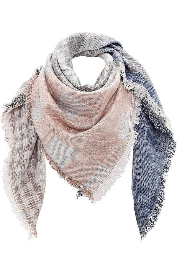 Mixed Plaid Pink Thick Square Scarf-Single price