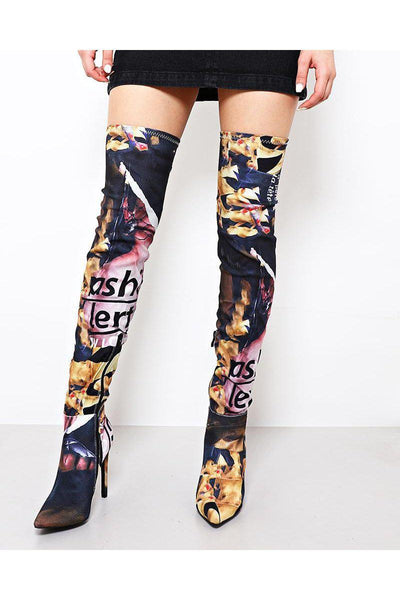 Mixed Print Pink Thigh High Boots