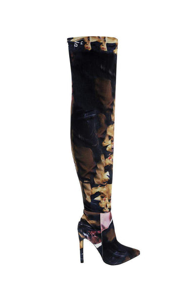 Mixed Print Pink Thigh High Boots-Single price