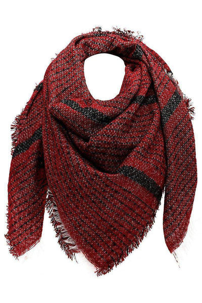 Mixed Stripes Dark Red Square Scarf-Single price