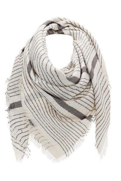 Mixed Stripes White Square Scarf-Single price