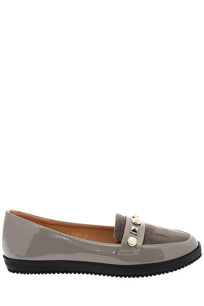 Mixed Studs Grey Loafers-Single price