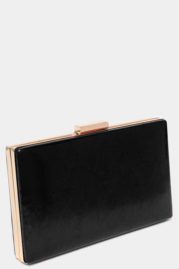 Black Metallic Faux Leather Box Clutch-SinglePrice