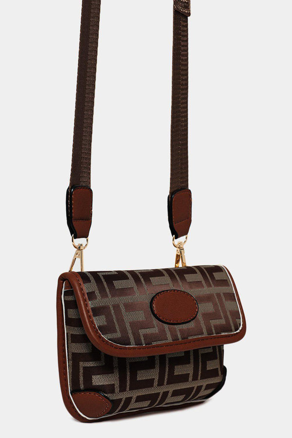 Camel Greek Key Print Multiwear Bumbag Shoulder Bag - SinglePrice