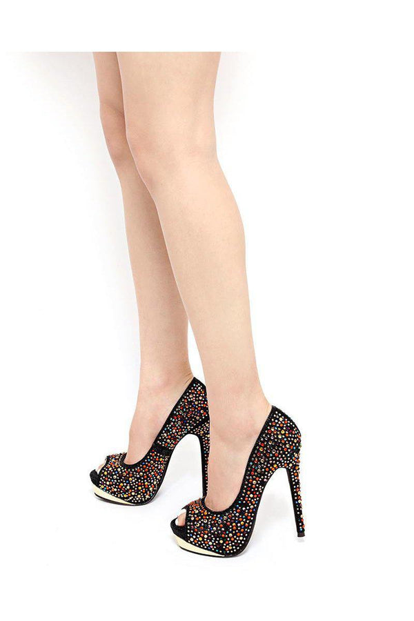 Multi Colour Crystals Embellished Black Platform Shoes-SinglePrice