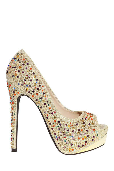 Multicolour Crystals Embellished Gold Platform Shoes-Single price