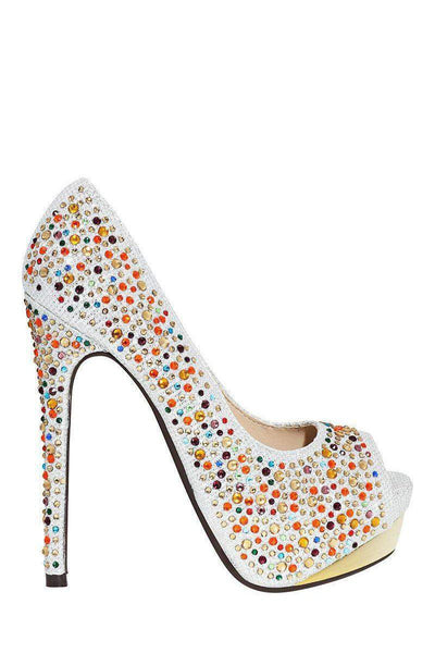 Multi Colour Crystals Embellished Silver Platform Shoes-SinglePrice