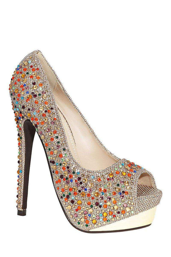 Multi Colour Crystals Embellished Taupe Platform Shoes - SinglePrice