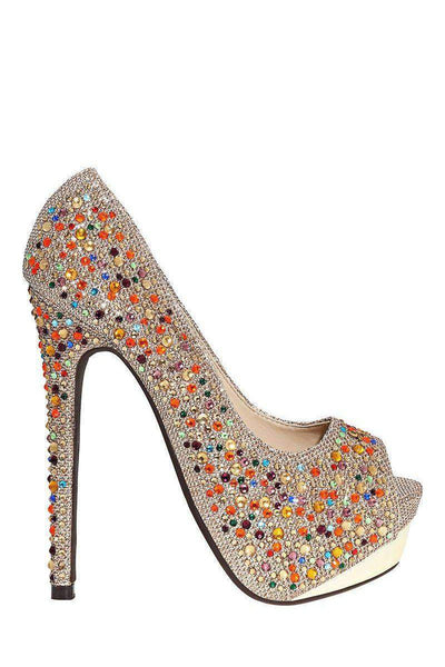 Multi Colour Crystals Embellished Taupe Platform Shoes-SinglePrice