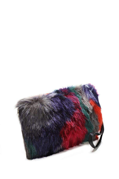 Multicolour Patches Faux Fur Small Clutch-SinglePrice