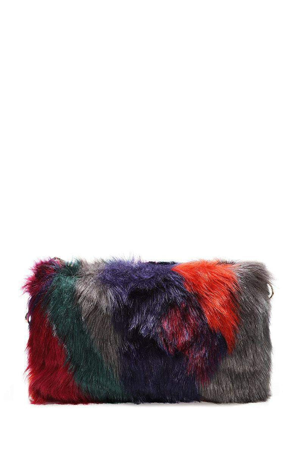 Multicolour Patches Faux Fur Small Clutch - SinglePrice