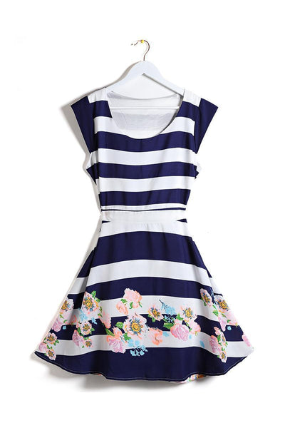 Nautical Stripes Floral Print Dress-SinglePrice