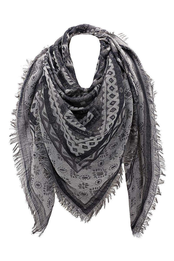 Navajo Print Black Square Scarf-Single price