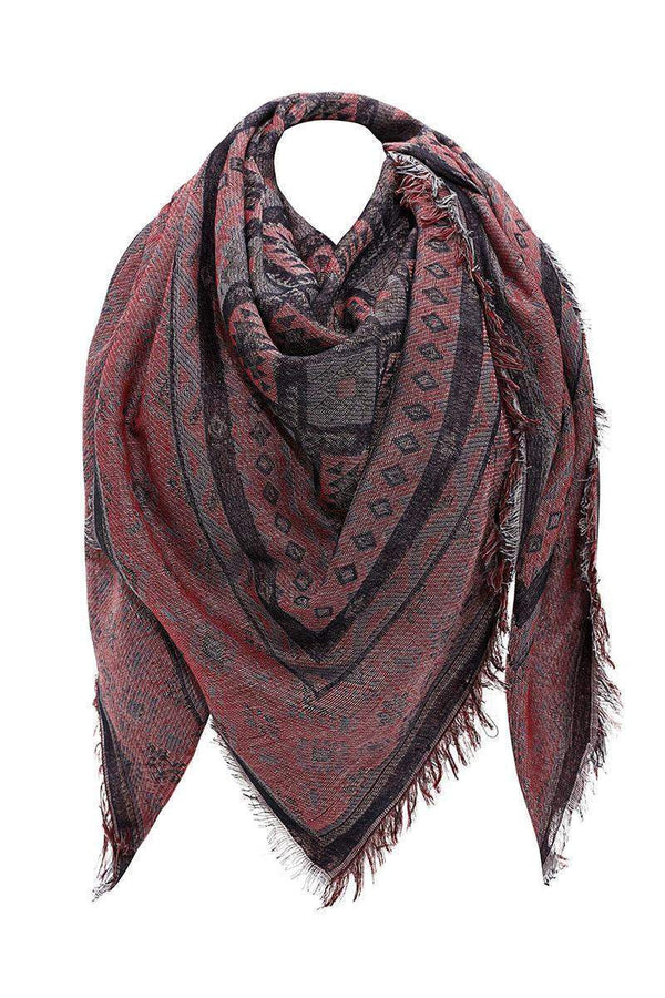 Navajo Print Dark Red Square Scarf-Single price