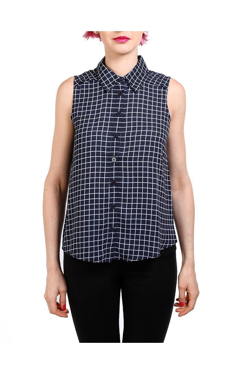 Navy Checked Sleeveless Blouse-SinglePrice