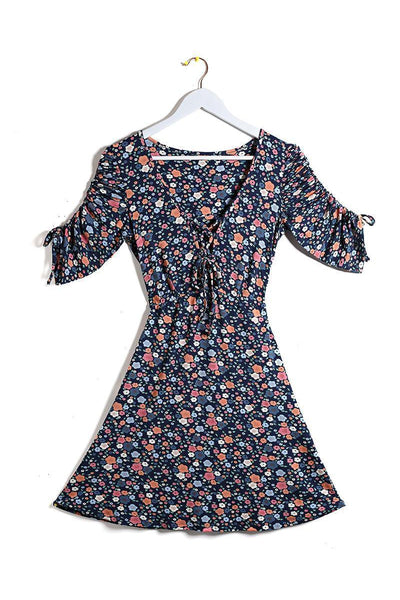 Navy Floral Print Ruched Sleeve Dress-SinglePrice