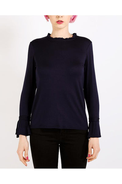 Navy Frill Details Jersey Top-SinglePrice