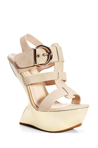 Nude Cut Out Wedge Sandals-Single price