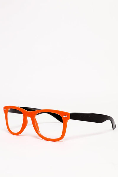 Orange And Black Frame Clear Lens Glasses