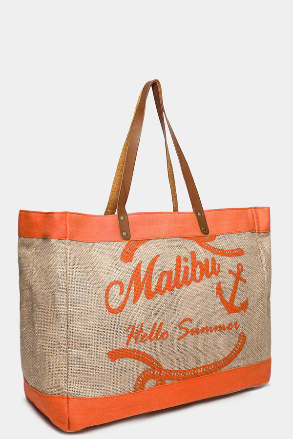 Orange Malibu Large Beach Bag