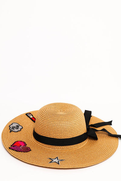 Badges Embellished Brown Summer Hat-SinglePrice