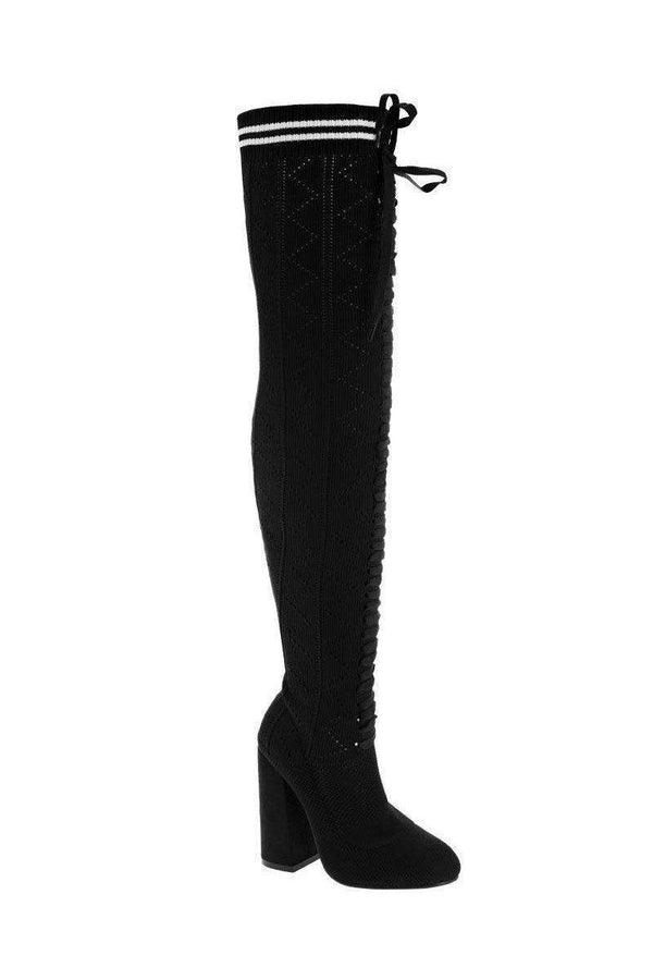 Over The Knee Black Knitted Sock Boots-SinglePrice