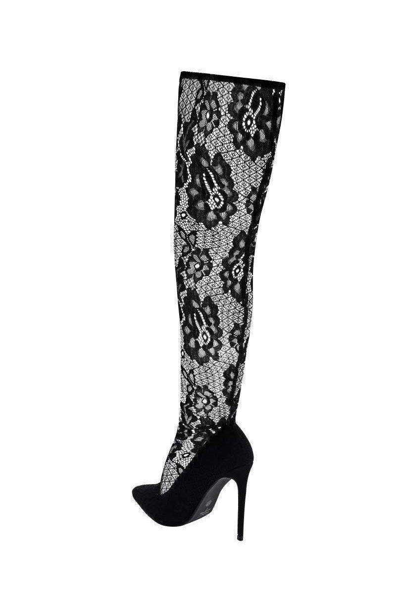 Over The Knee Black Lace Sock Boots - SinglePrice