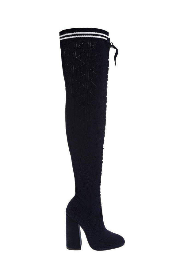 Over The Knee Navy Knitted Sock Boots-SinglePrice