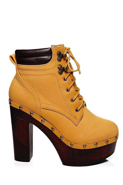 Padded Top Camel Clog Ankle Boots-SinglePrice