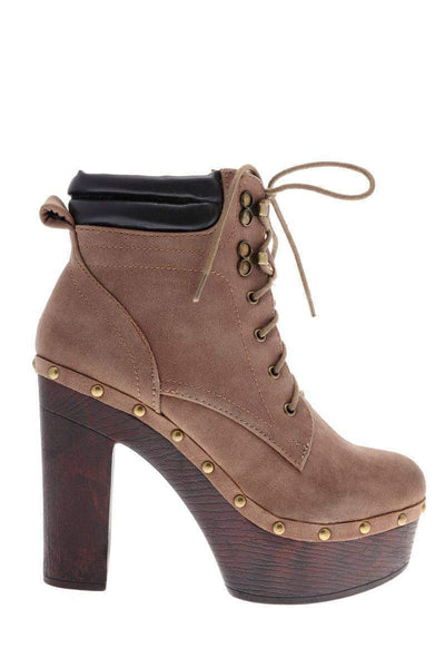 Padded Top Khaki Clog Ankle Boots-Single price