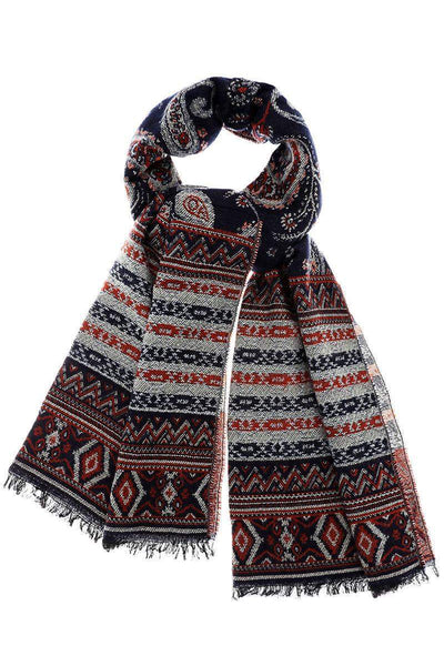 Paisley Pattern Navy Winter Scarf-Single price