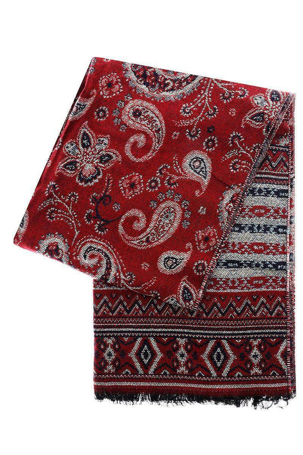 Paisley Pattern Red Winter Scarf - SinglePrice