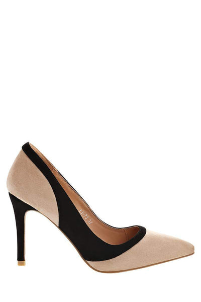 Panelled Khaki Suede Pumps-Single price