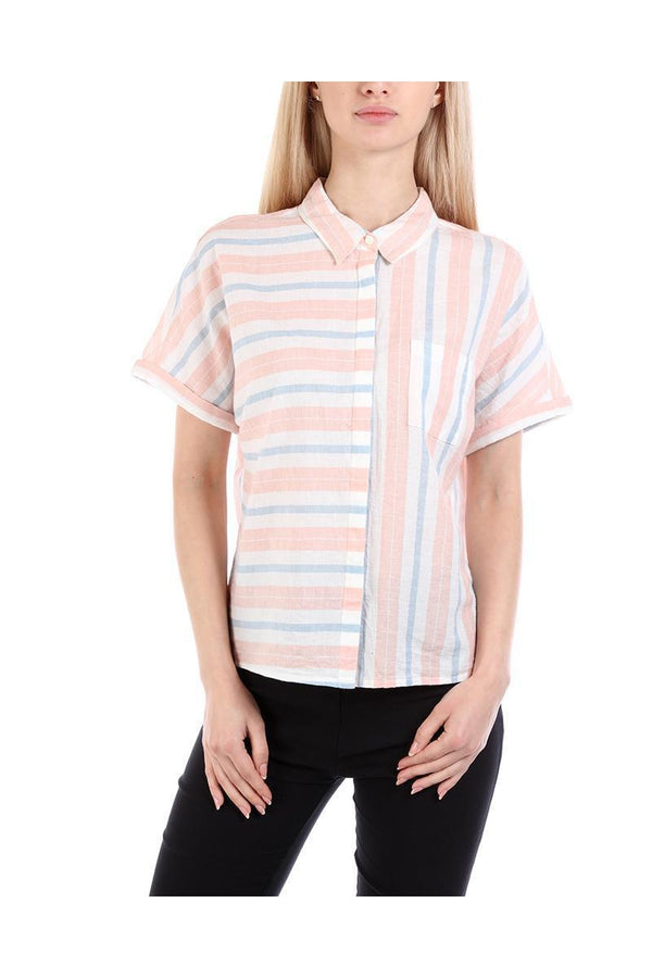 Pastel Stripes Short Sleeved Shirt-SinglePrice