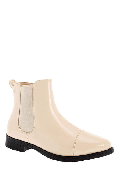 Patent Beige Flat Chelsea Boots-Single price