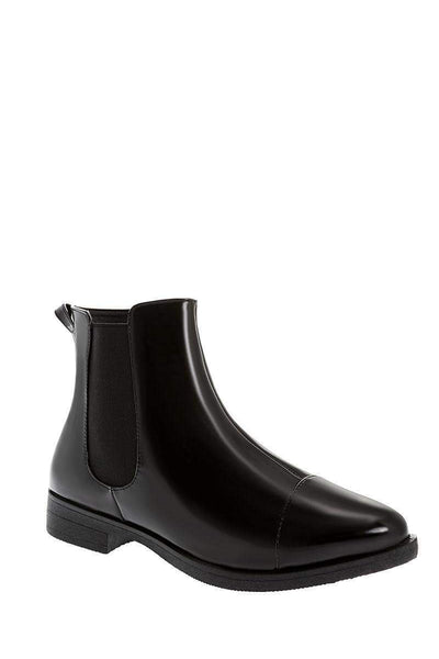 Patent Black Flat Chelsea Boots-Single price