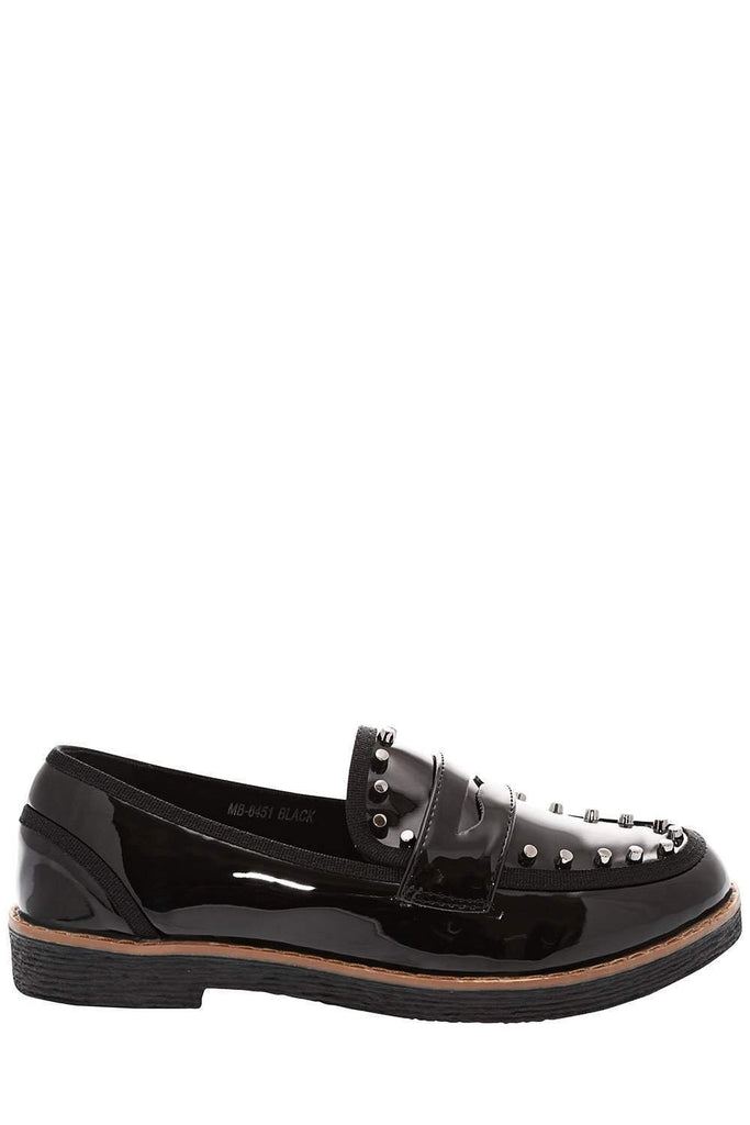 face4b04e49 Patent Black Studded Penny Loafers-Single price