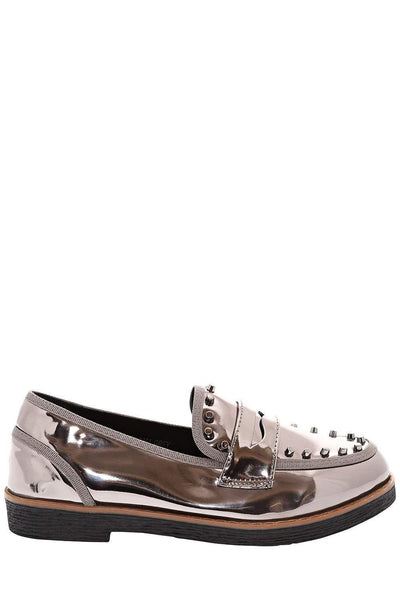 Patent Grey Studded Penny Loafers-Single price